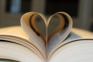 Readers Love Books - Book with Pages Turned Inward to Form a Heart